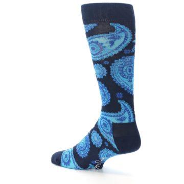 Image of Navy Aqua Paisley Men's Dress Socks (side-2-back-14)