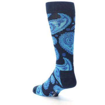 Image of Navy Aqua Paisley Men's Dress Socks (side-2-back-15)