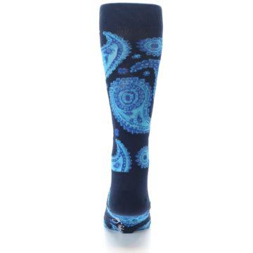 Image of Navy Aqua Paisley Men's Dress Socks (back-18)