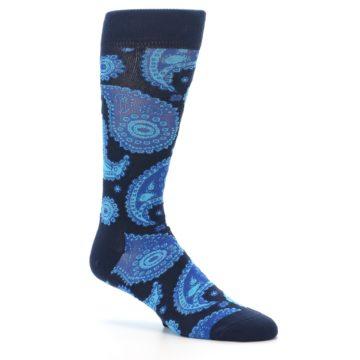 Image of Navy Aqua Paisley Men's Dress Socks (side-1-26)