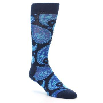 Image of Navy Aqua Paisley Men's Dress Socks (side-1-27)