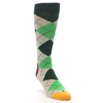 Image of Greens Tan Argyle Men's Dress Socks (side-1-front-02)
