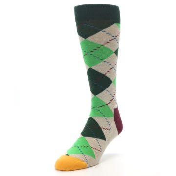 Image of Greens Tan Argyle Men's Dress Socks (side-2-front-07)