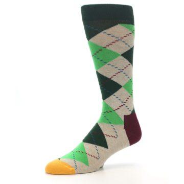 Image of Greens Tan Argyle Men's Dress Socks (side-2-09)