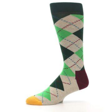 Image of Greens Tan Argyle Men's Dress Socks (side-2-10)