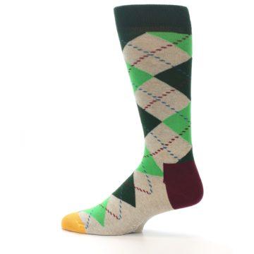 Image of Greens Tan Argyle Men's Dress Socks (side-2-12)