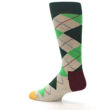 Image of Greens Tan Argyle Men's Dress Socks (side-2-13)