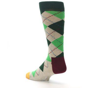 Image of Greens Tan Argyle Men's Dress Socks (side-2-back-14)