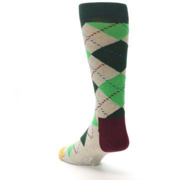 Image of Greens Tan Argyle Men's Dress Socks (side-2-back-15)