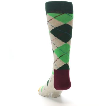 Image of Greens Tan Argyle Men's Dress Socks (side-2-back-16)