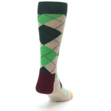 Image of Greens Tan Argyle Men's Dress Socks (side-1-back-20)