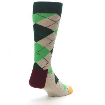 Image of Greens Tan Argyle Men's Dress Socks (side-1-back-21)