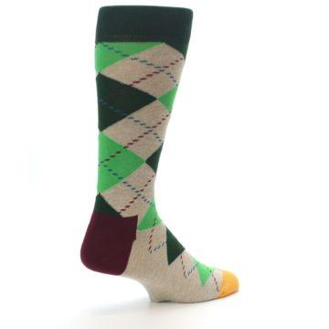 Image of Greens Tan Argyle Men's Dress Socks (side-1-back-22)