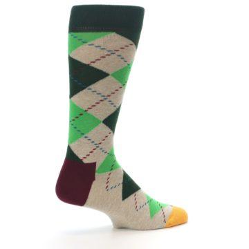 Image of Greens Tan Argyle Men's Dress Socks (side-1-23)