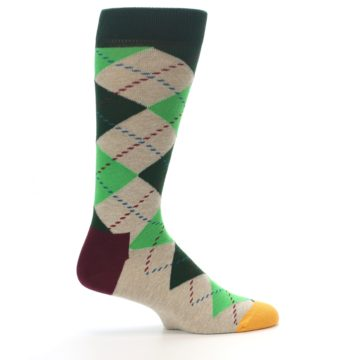 Image of Greens Tan Argyle Men's Dress Socks (side-1-24)
