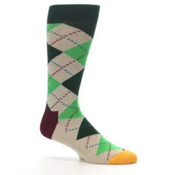 Image of Greens Tan Argyle Men's Dress Socks (side-1-25)