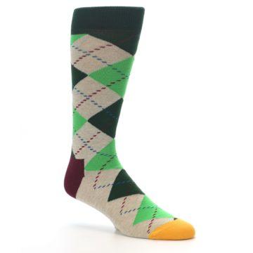 Image of Greens Tan Argyle Men's Dress Socks (side-1-26)