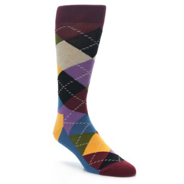 Image of Maroon Gold Multi Color Argyle Men's Dress Socks (side-1-front-01)