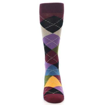 Image of Maroon Gold Multi Color Argyle Men's Dress Socks (front-04)