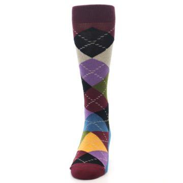 Image of Maroon Gold Multi Color Argyle Men's Dress Socks (front-05)
