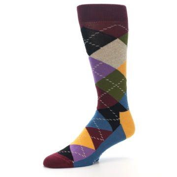 Image of Maroon Gold Multi Color Argyle Men's Dress Socks (side-2-09)