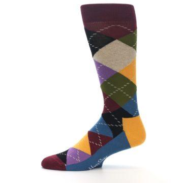 Image of Maroon Gold Multi Color Argyle Men's Dress Socks (side-2-11)