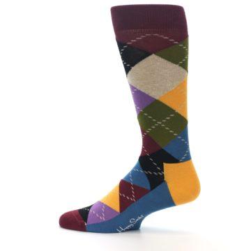 Image of Maroon Gold Multi Color Argyle Men's Dress Socks (side-2-12)