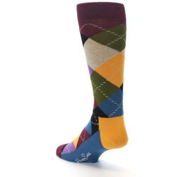 Image of Maroon Gold Multi Color Argyle Men's Dress Socks (side-2-back-15)