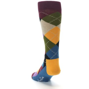 Image of Maroon Gold Multi Color Argyle Men's Dress Socks (side-2-back-16)