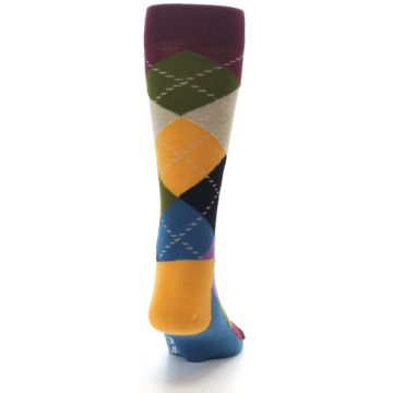 Image of Maroon Gold Multi Color Argyle Men's Dress Socks (back-19)