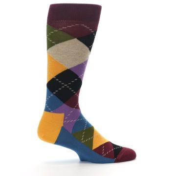 Image of Maroon Gold Multi Color Argyle Men's Dress Socks (side-1-24)
