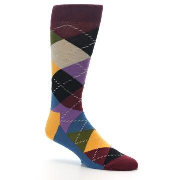 Image of Maroon Gold Multi Color Argyle Men's Dress Socks (side-1-26)