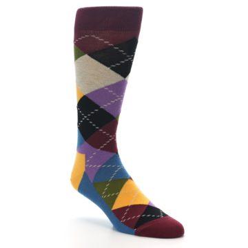 Image of Maroon Gold Multi Color Argyle Men's Dress Socks (side-1-27)