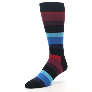 Image of Black Blues Reds Stripe Men's Dress Socks (side-2-front-08)