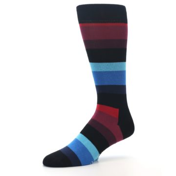 Image of Black Blues Reds Stripe Men's Dress Socks (side-2-09)