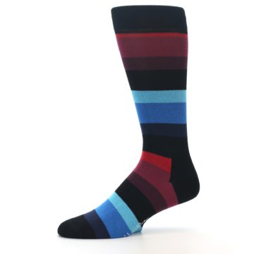 Image of Black Blues Reds Stripe Men's Dress Socks (side-2-10)