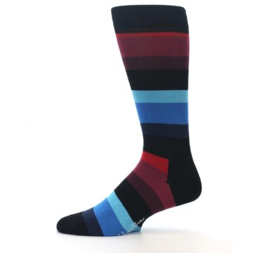 Image of Black Blues Reds Stripe Men's Dress Socks (side-2-11)