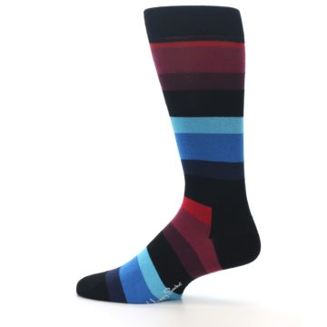 Image of Black Blues Reds Stripe Men's Dress Socks (side-2-12)