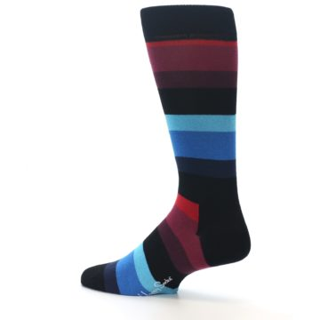 Image of Black Blues Reds Stripe Men's Dress Socks (side-2-13)
