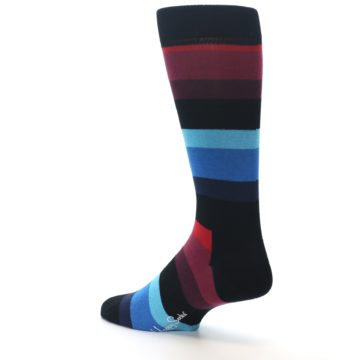 Image of Black Blues Reds Stripe Men's Dress Socks (side-2-back-14)