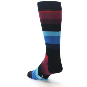Image of Black Blues Reds Stripe Men's Dress Socks (side-2-back-15)