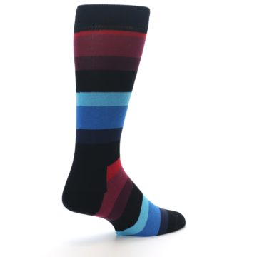 Image of Black Blues Reds Stripe Men's Dress Socks (side-1-back-22)