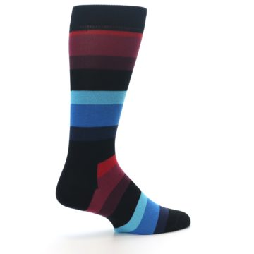 Image of Black Blues Reds Stripe Men's Dress Socks (side-1-23)