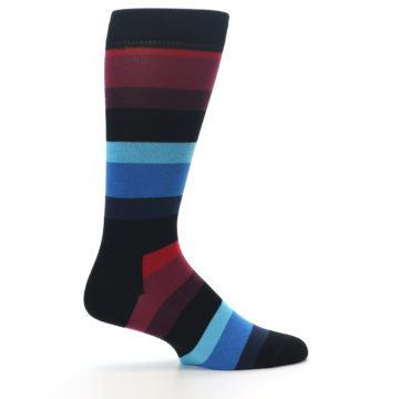 Image of Black Blues Reds Stripe Men's Dress Socks (side-1-24)