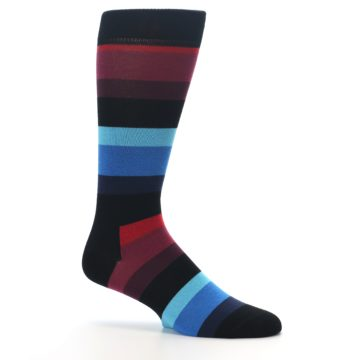 Image of Black Blues Reds Stripe Men's Dress Socks (side-1-25)