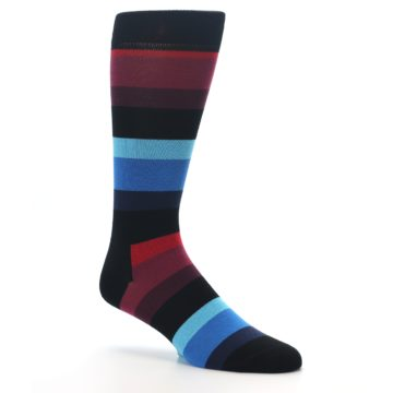 Image of Black Blues Reds Stripe Men's Dress Socks (side-1-26)