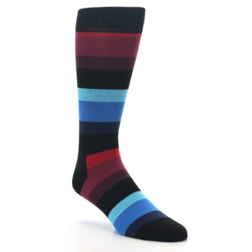 Image of Black Blues Reds Stripe Men's Dress Socks (side-1-27)