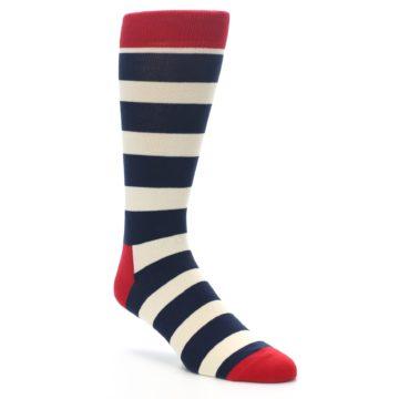 Image of Navy Red White Stripe Men's Dress Socks (side-1-front-01)