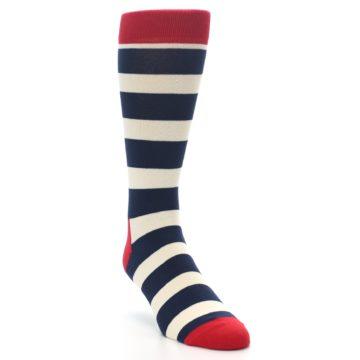 Image of Navy Red White Stripe Men's Dress Socks (side-1-front-02)