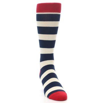 Image of Navy Red White Stripe Men's Dress Socks (side-1-front-03)
